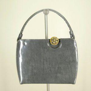 Vintage Gray Patent Leather Top Handle Handbag/Pur